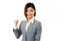 Mulher de negócio que aprecia o sucesso Foto de Stock Royalty Free
