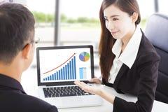Mulher de negócio que mostra a mercado de valores de ação a situação financeira Fotografia de Stock