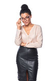 Mulher de negócio que olha cepticamente Foto de Stock Royalty Free