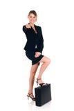 Mulher de negócios alegre Fotos de Stock Royalty Free