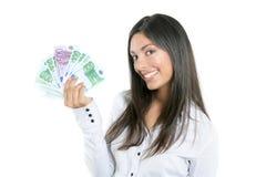 Mulher de negócios bonita do sucesso que prende euro- notas Foto de Stock Royalty Free