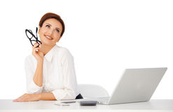 Mulher de negócios bonita que dayreaming Imagens de Stock Royalty Free