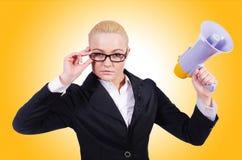 Mulher de negócios da mulher com altifalante Foto de Stock