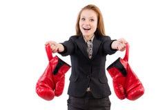 Mulher de negócios da mulher com luvas de encaixotamento Imagem de Stock