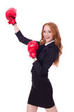 Mulher de negócios da mulher com luvas de encaixotamento Fotografia de Stock Royalty Free