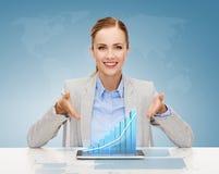 Mulher de negócios de sorriso com PC da tabuleta Imagens de Stock