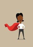 Mulher de negócios dos desenhos animados do herói no cabo vermelho Imagens de Stock