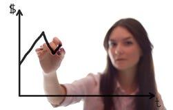 A mulher de negócios escreve o grath no vidro Fotografia de Stock Royalty Free
