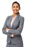 Mulher de negócios feliz Standing Arms Crossed Imagem de Stock