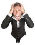 Mulher de negócios gritando Imagens de Stock Royalty Free