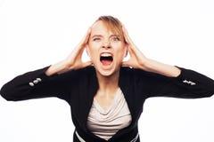 Mulher de negócios gritando irritada Fotos de Stock Royalty Free