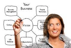 Mulher de negócios nova que desenha um diagrama do negócio Fotografia de Stock Royalty Free