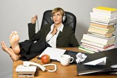 Mulher de negócios ou estudante preguiçoso Imagens de Stock Royalty Free