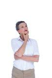 Mulher de negócios pensativa que olha afastado Fotos de Stock