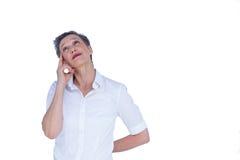 Mulher de negócios pensativa que olha afastado Fotos de Stock Royalty Free