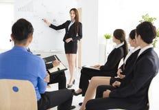 Mulher de negócios que apresenta o projeto novo aos sócios no escritório Fotografia de Stock Royalty Free