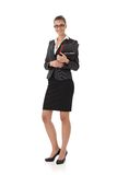 Mulher de negócios que guarda originais Foto de Stock Royalty Free