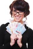 Mulher de negócios que prende euro- em suas mãos Imagem de Stock Royalty Free