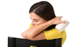 Mulher de negócios Sitting em um sono da cadeira Imagem de Stock Royalty Free