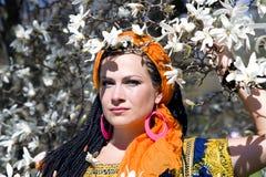 Mulher de olhos azuis bonita com as tranças africanas Imagem de Stock Royalty Free