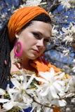 Mulher de olhos azuis bonita com as tranças africanas Fotos de Stock