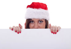 Mulher de Papai Noel que hidding Imagem de Stock Royalty Free