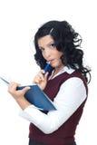 Mulher de pensamento com agenda e lápis Imagens de Stock Royalty Free