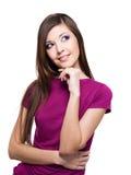 Mulher de pensamento de sorriso que olha acima Imagens de Stock Royalty Free