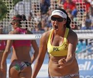 Mulher de poland do voleibol da praia Fotografia de Stock Royalty Free