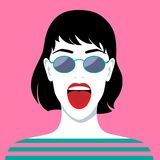 Mulher de riso bonita Imagem de Stock