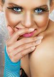 Mulher de riso dos olhos azuis Imagens de Stock