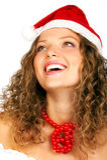 Mulher de riso no tampão de Santa Fotos de Stock