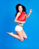 Mulher de salto fotografia de stock