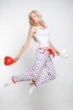 Mulher de salto Fotografia de Stock Royalty Free