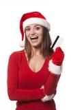 Mulher de Santa com cartão de crédito Fotos de Stock Royalty Free