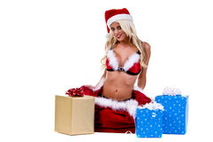 Mulher de Santa do Natal Imagens de Stock