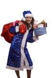A mulher de Santa está prendendo o saco vermelho com presentes. imagens de stock