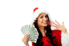 Mulher de Santa que guarda um grampo do dinheiro polonês Fotografia de Stock