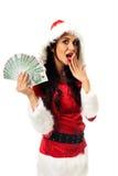 Mulher de Santa que guarda um grampo do dinheiro polonês Imagens de Stock