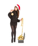 Mulher de sorriso bonita de Santa do Natal Fotos de Stock Royalty Free