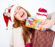 mulher de sorriso com muitas caixas de presente Fotografia de Stock