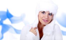 Mulher de sorriso do inverno. olhos azuis Imagem de Stock Royalty Free