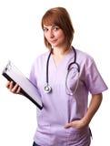Mulher de sorriso do médico com estetoscópio Imagens de Stock