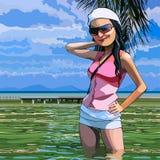 Mulher de sorriso dos desenhos animados que está no mar Fotografia de Stock