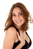 Mulher de sorriso em um vestido preto Fotos de Stock Royalty Free
