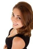 Mulher de sorriso em um vestido preto Imagem de Stock Royalty Free