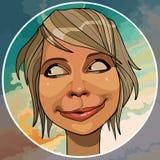 Mulher de sorriso engraçada dos desenhos animados em um círculo ilustração royalty free