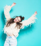 Mulher de sorriso feliz bonita Menina de riso Imagens de Stock Royalty Free