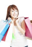 Mulher de sorriso feliz da compra Fotos de Stock Royalty Free