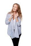 Mulher de sorriso feliz que olha lateralmente foto de stock royalty free